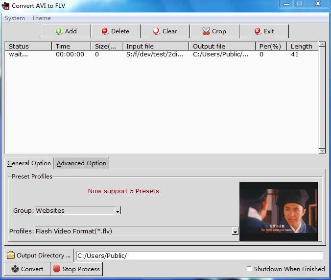 Convert AVI to FLV full screenshot