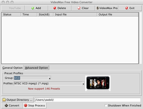 free video converter screenshot on mac os x 10.5