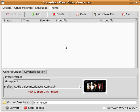 free video converter screenshot on ubuntu