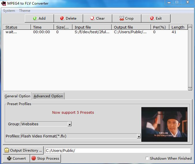 MPEG4 to FLV Converter