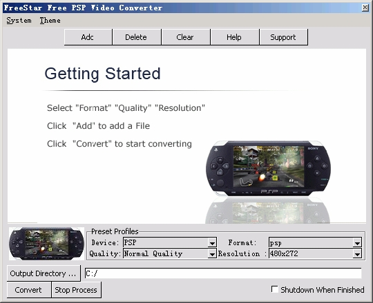 converts almost all PC video files to sony PSP video